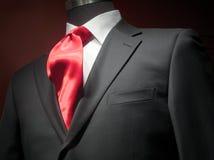 Revestimento cinzento escuro com camisa branca e o laço vermelho Fotos de Stock