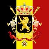 Revestimento de Bélgica de braço e de bandeira Fotografia de Stock Royalty Free