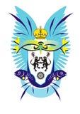 Revestimento de braços com leões, peixes, coroa e w azul ilustração stock