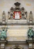 Revestimento de braços, detalhe no salão de cidade de Hamburgo imagem de stock royalty free