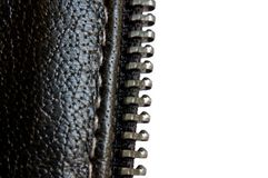 Revestimento de couro com o fecho de correr, isolado no branco Fotografia de Stock
