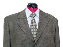 Revestimento de mistura de lã verde com o ascendente próximo da camisa e do laço Fotos de Stock