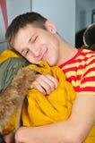 Revestimento do abraço do menino Fotografia de Stock Royalty Free