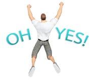 Revestimento traseiro do homem que salta Joy Illustration Imagem de Stock