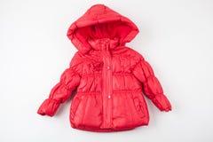 Revestimento vermelho bonito do inverno do ` s das crianças imagens de stock royalty free