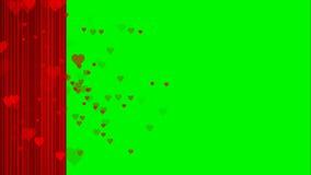 Revestimento vermelho do coração animado na chave verde do croma da tela útil para o Valentim do drama do entretenimento da mostr ilustração do vetor
