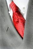 Revestimento vermelho do terno do laço da camisa branca Fotos de Stock
