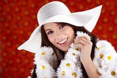 Revestimento vestido mulher da flor imagens de stock royalty free