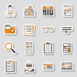 Revidierung, Steuer, erklärende Aufkleber-Ikonen eingestellt Lizenzfreie Stockfotografie