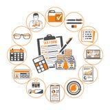 Revidierung, Steuer, erklärendes Infographics Lizenzfreies Stockfoto