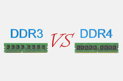 Reviev DDR3 versus DDR4 concept Stock Photo