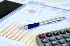 Account data and calculate. Review accounting data and calculate production income stock photography