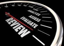 Review Analyze Evaluate Assess Speedometer Stock Photo
