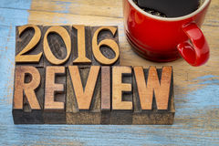 2016 review banner in wood type Royalty Free Stock Image
