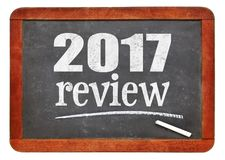 2017 review on blackboard. 2017 review - year summary concept on a vintage slate blackboard Stock Photos