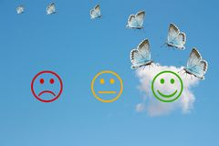 Review classification with happy and angry faces on blue sky background.  Stock Photography