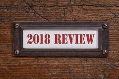 2018 review- file cabinet label Stock Photo