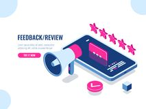 Review on the Internet, content rating and management isometric, positive review, evaluation of the application, the. Message on the screen of the mobile phone vector illustration