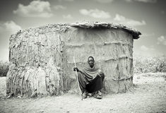 Review of daily life of local Masai  people . Tanzania. Stock Image