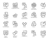 Review 20 line icons isolated. Comments or message chat bubbles, usability evaluation, communication, rating signs. Review line icons. Big set of 20 outline Stock Images