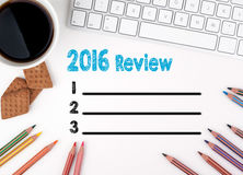 2016 Review list, Business concept. White office desk.  royalty free illustration
