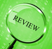 Review Magnifier Indicates Evaluate Appraisal And Assessing. Review Magnifier Meaning Feedback Magnification And Appraisal Royalty Free Stock Photo