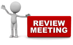 Review meeting. Time concept, little man holding a banner on clean background royalty free illustration