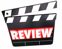 Review Movie Clapper Film Critic Rating Comments Opinions. Review word on movie clapper for film comments, opinions, ratings, viewpoints or criticism Stock Photos