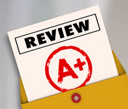 Review A Plus Report Card Great Score Rating Evaluation. Review word and A Plus grade on a report card to illustrate a great rating, score, evaluation or Royalty Free Stock Photo