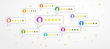 Review rating concept with bubble speeches and user profiles on white background with stars. Product social media marketing. Customer testimonials, rating vector illustration