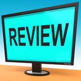 Review Screen Means Check Reviewing Or Reassess Stock Photo