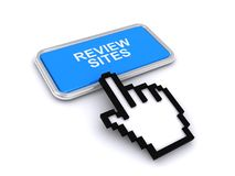 Review sites. An illustration of a finger cursor on a button with text 'review sites Stock Photo