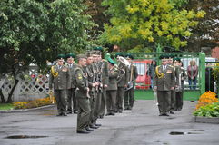 Review of soldiers of the Belarusian army may 1, 2015 on the eve of the may 9 victory day in World war 2. Stock Photos