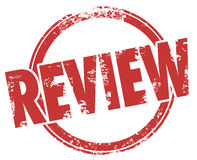 Review Stamp Word Circle Product Evaluation Rating Criticism. Review word in a circle stamp to illustrate a product or service criticism, feedback, rating Stock Image