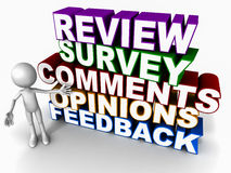 Review survey feedback opinion. Words review feedback survey opinion comments on white background with 3d man figure pointing suggesting to submit feedback from Royalty Free Stock Photo