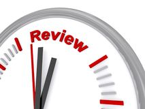 Review time on clock. 3d illustration of review time on clock face with white background royalty free stock image