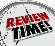Review Time Clock Reminder Evaluation Assessment. Review Time words in 3d letters on a clock face to remind you to do an evaluation or assessment as an employee Royalty Free Stock Photos