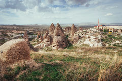 Review unique geological formations in Cappadocia, Turkey. Kappa Stock Image