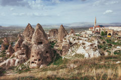 Review unique geological formations in Cappadocia, Turkey. Kappa Royalty Free Stock Photos