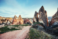 Review unique geological formations in Cappadocia, Turkey. Kappa Stock Photography
