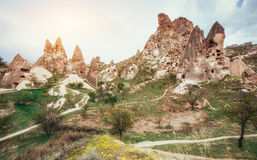 Review unique geological formations in Cappadocia, Turkey. Kappa Stock Images