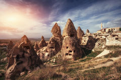 Review unique geological formations in Cappadocia, Turkey. Kappa Royalty Free Stock Photo