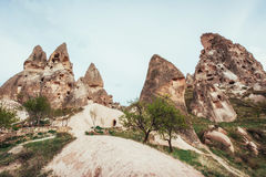 Review unique geological formations in Cappadocia, Turkey. Kappa Stock Photos