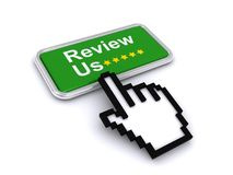 Review us button graphic. A green Review Us button with a finger clicking or pointing Royalty Free Stock Photo