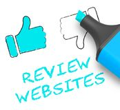 Review Websites Means Site Performance 3d Illustration. Review Websites Thumbs Up Means Site Performance 3d Illustration Royalty Free Stock Photo