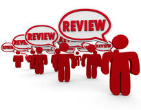 Review Word Speech Bubbles People Commenting Critic Feedback Royalty Free Stock Photography