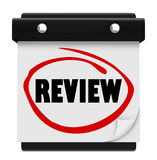 Review Word Wall Calendar Date Day Reminder Evaluation Test Rati. Review word circled on a wall calendar day or date to illustrate a reminder for your evaluation Stock Image