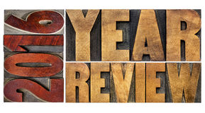 Review of 2016 year banner. 2016 review banner - annual review or summary of the recent year - word abstract in vintage letterpress wood type blocks stock photos