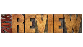 Review of 2016 year banner in wood type Stock Photography