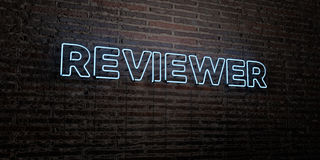 REVIEWER -Realistic Neon Sign on Brick Wall background - 3D rendered royalty free stock image. Can be used for online banner ads and direct mailers royalty free illustration